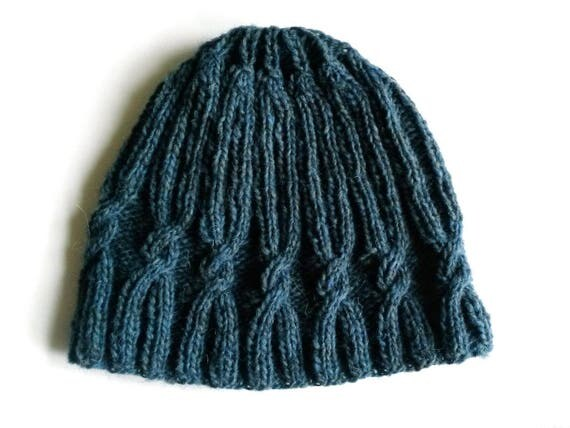 Knit beanie: original design with spiral cable. Quality handspun Irish wool. Made in Ireland. Men's beanie. Women's beanie. Aran cable hat