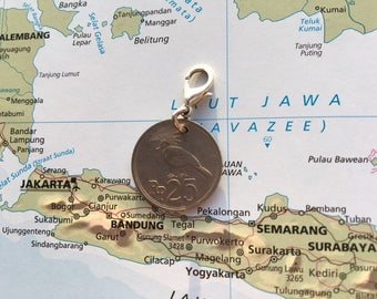 Indonesia coin charm - 3 different designs - made of original coins from Indonesia - Design your own charm bracelet!