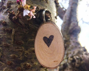 Personalised pyrography keychain, customized tree branch love heart keyring, Valentines Day gift idea, personalised wood burned love token