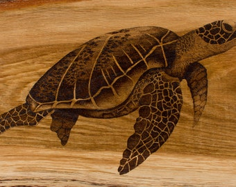 Pointillism turtle fine art giclee print, limited edition signed reproduction print of dotwork woodburned turtle oak artwork