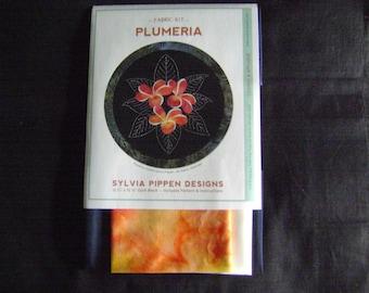 Plumeria Japanese Applique and Sashiko Tropical Flower Quilt Block Kit Designed by Sylvia Pippen
