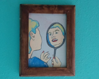 Mirror Lady #1- Folk art, outsider, original, Handmade