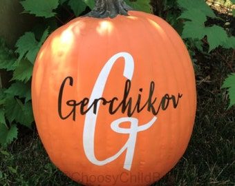Monogrammed Pumpkin - DIY Pumpkin Decal - Personalized Pumpkin - Halloween Pumpkin - Thanksgiving Pumpkin Decal - Last Name Pumpkin