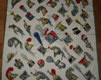"HERMES Silk Scarf ""Helmets and caps military"" by Heron COLLECTOR 1959 Hermes"