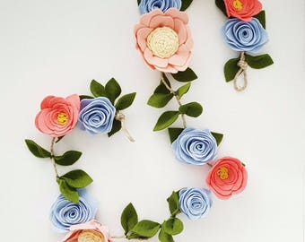 Felt Flower Garland - Floral Garland - Nursery Decoration - Baby Girl Nursery - Baby Shower - Newborn Baby
