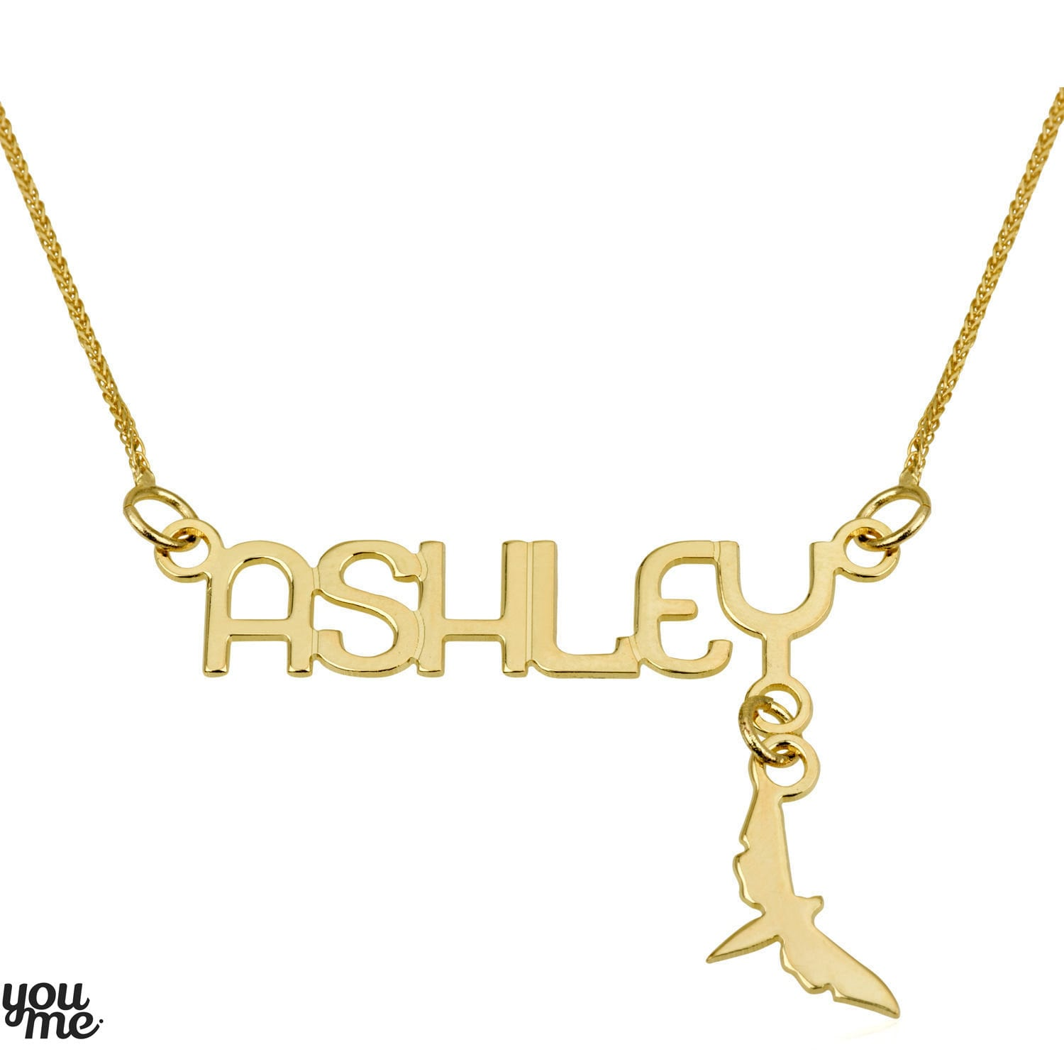 Custom name necklace 14k yellow solid gold by youmegoldjewelry for Cheap gold jewelry near me