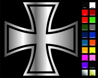 Iron Cross Decal / Sticker -Choose Color & Size- German Maltese Knights Choppers
