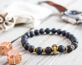 8mm - Black lava stone beaded gold Skull stretchy bracelet, made to order yoga bracelet, black lava mens bracelet, womens bracelet