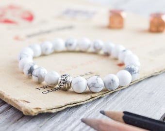 8mm - White howlite beaded stretchy bracelet, made to order yoga bracelet, mens bracelet, womens bracelet, white bead bracelet