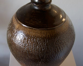 Vase, wood fire ceramic, hand-turned