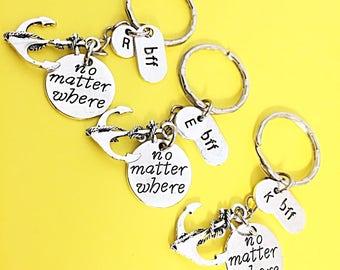 Custom Set of 3,Best friends keychain - set of three, bff charm,bff keychain, set of 2 best friend,customized keychain, Friendship Keychain.
