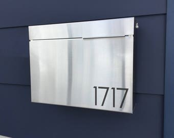 Larger Modern and contemporary mailbox - stainless steel design, Modern Mailbox, Wall Mounted mailbox - contemporary #1411S