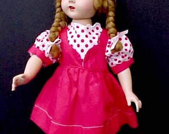 Cute 1950's Red and White Puff Sleeve Doll Dress