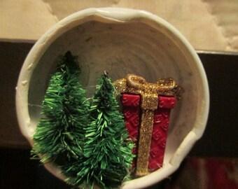 Christmas Scene Bottle Cap Magnet