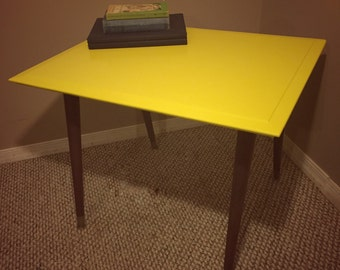 Reclaimed Yellow Mid Century Wood End Table
