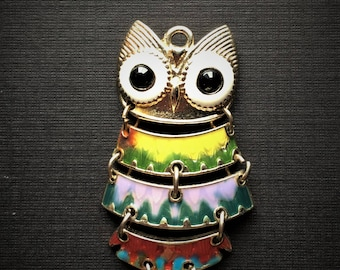Owl Pendant, Southwest Colors- Hinged