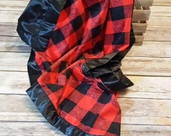 Satin Minky Baby Blanket- Buffalo Plaid Baby- Lumberjack Nursery- Baby Boy