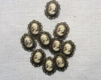 10  Brown Cameo , antique bronze frame, flat backing, vintage style.