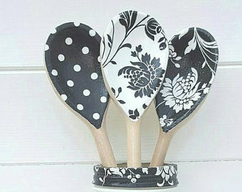Set of 3 Black and White Decorative Wooden Spoons - Kitchen Decor