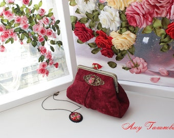 Original gift for woman beautiful handmade handbag in vintage style.
