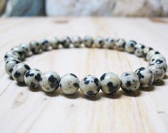 Dalmatian Jasper Bracelet Jasper Bracelet Mens Bracelet Root Chakra Bracelet Gemstone Bracelet Mala Bracelet Spiritual Bracelet 6mm Jasper