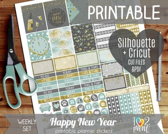 New Year Printable Planner Stickers, Erin Condren Planner Stickers, Weekly Planner Stickers, ...