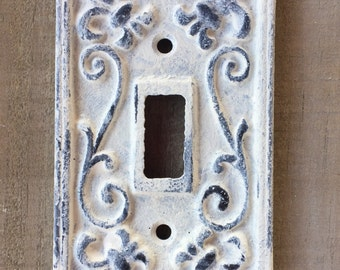 Distressed painted Cast Iron Single Switchplate with Fleur de Lis raised details