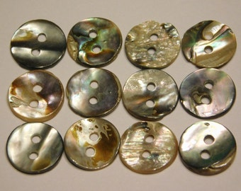 Abalone Buttons, RARE Set of 12 Mother of Pearl 2 Hole 12mm Collectible Antiques for High Quality Jewelry Crafts Clothing Artisans & Sewing