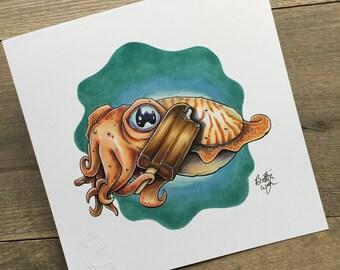 Cuttlefish Pop - 9x9 Print