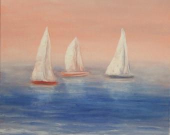 Sailboat art Ocean paintings boat painting Gift for friend lake house decor morning art Sailing boat art nautical wall art blue beige white