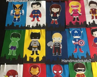 Super heroes Goodie  bags or Candy Bags set of 12pcs  superheroes (little kids)