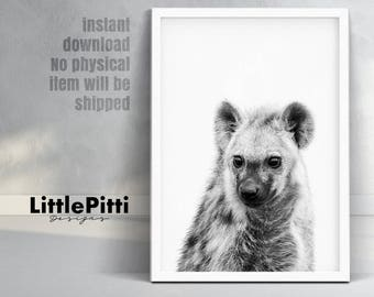 Hyena art, safari nursery wall print, safari animal art, black and white hyena, printable nursery decor, nursery art printable decor, hyena