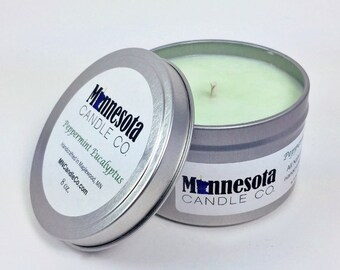 Peppermint Eucalyptus - 8oz. Handcrafted Soy Wax Candle - Minnesota Candle Co.