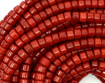 """6mm red coral heishi beads 16"""" strand 39088"""