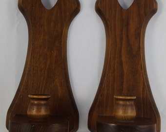 Vintage Pair of Matching Wall Hanging Wooden Heart Candlestick Holder Sconces