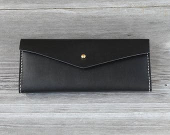Leather Long Wallet // Black