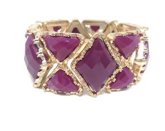 Gorgeous Plum Purple Stone Gold Tone Estate Stretch Bracelet
