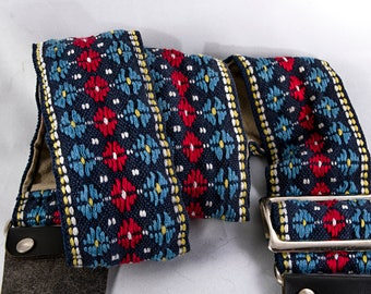 """Vintage Geometric White, Blue, and Black Camera Strap for any Camera, 42"""" Long, 2"""" Wide for Canon, Nikon, Pentax, Sony, and Others"""