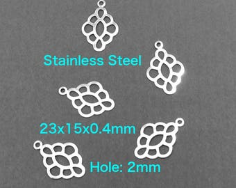 Stainless Steel Pendant Connector Charm Findings Hardware Craft Supplies Handmade Jewelry Lucky Charm Jewelry Beadings Links Thin Light