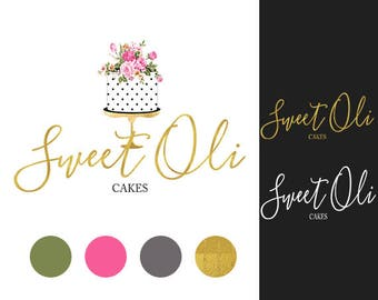 Bakery logo, Premade Cake logo design, Premade logo, Watercolor floral cake logo,Business logo, Customized logo, Premade logo design