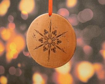 Steampunk Christmas Decoration, steampunk decoration, copper Christmas decoration, snowflake decoration, copper decoration