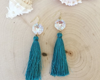 Swarovski crystal with blue fringe earrings