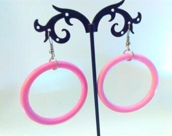 NOS, 5cm, pink, Vintage, earrings, 1980s, pink hoops, vintage earrings, pink hoop earrings, pink earrings,  hoop earrings, kitsch hoops