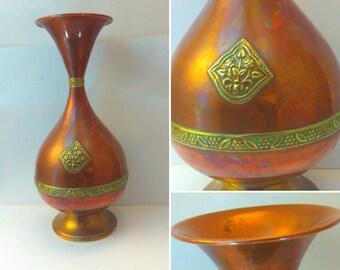 Vintage, antique, 22cm brass and copper, art nouveau, art nouveau decor, antique art nouveau vase, antique vase, vintage vase, antiques