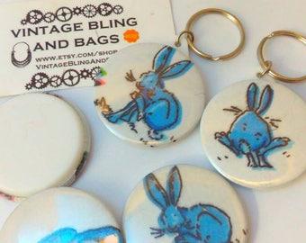Blue rabbit, keyring, keychain, Easter Bunny, bunny keyring, rabbit keychain, bunny rabbit keyring, rabbit keychain, rabbit gift, bunny gift