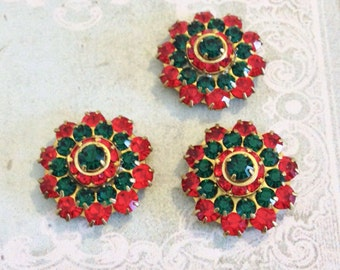 2 Christmas sparkly emerald and light siam ruby swarovski crystals in brass setting  #1235-11