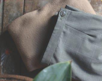Vintage Grid Trousers / Grey white grid stripe / Classic Cigarette Pant / Minimal Soft Luxury
