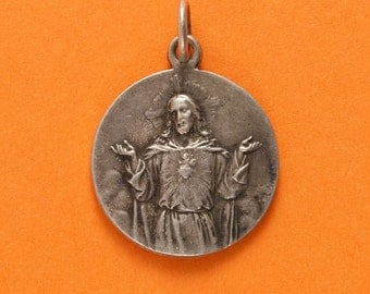 French Devotional Medal - Sacred Heart of Jesus - Souvenir from Le Sacre Coeur at Montmartre in Paris - Signed A Lanes and OBC