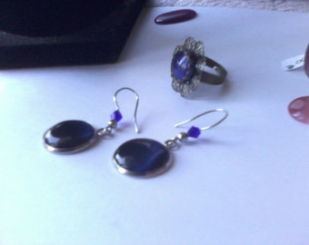 Earrings stainless steel and blue cat's eye night, sustainable jewelry