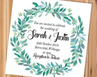 Printable Wedding Invitations, Watercolour Wedding Invitations, Wedding Invites